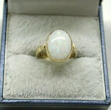 Superb 9ct Gold And Large Beautiful Opal Solitaire Dress Ring