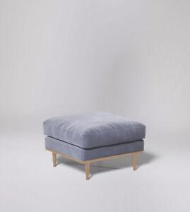 Swoon Norfolk Living Room Modern Silver Grey MTO Easy Velvet Ottoman - RRP £379