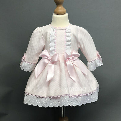 *SALE* Gorgeous Baby Girl Spanish Pink Checked Long Sleeve Cotton Dress Romany