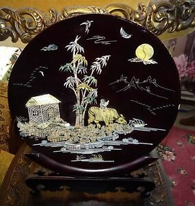 Image is loading Antique-Chinese-Asian-Black-Lacquer-Mother-Of-Pearl- & Antique Chinese Asian Black Lacquer Mother Of Pearl Display Art Wood ...