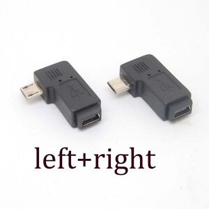 90-Degree-left-right-Angle-Adapter-micro-USB-Type-A-B-male-to-mini-USB-feMale