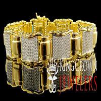 Genuine Sterling Silver Gold Finish Mens Ladies Pave Round Lab Diamond Bracelet