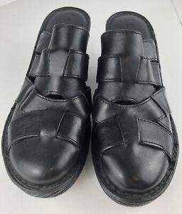 Born-Women-s-Black-Leather-Mules-Slides-Platform-Heels-Shoes-Sz-9M-Excellent-Con