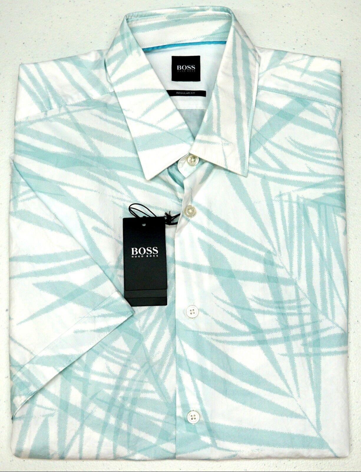 77416737 NWT Hugo Boss White Floral LS Shirt Mens M XL Luka_5F 50385456 Regular Fit