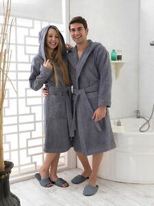 luxus damen herren frottee kapuzen bademantel saunamantel morgenmantel anthrazit ebay. Black Bedroom Furniture Sets. Home Design Ideas