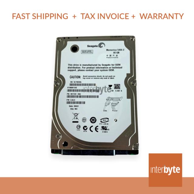 "Seagate ST980811AS Hard Disk Drive 80GB 5400 Sata 2.5"""