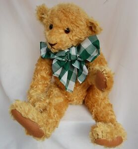 """Artist Teddy Bear Curly Gold Mohair Linda Spiegel Bearly There 20"""" Antique Style"""