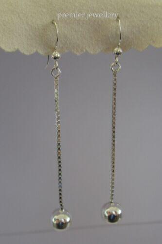 Genuine 925 Sterling Silver Ball Dangle Earrings