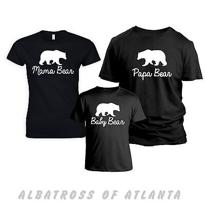 MAMA BEAR & BABY BEAR MATCHING SET MOTHER'S/FATHER'S DAY GIFT FAMILY T-SHIRT TOP