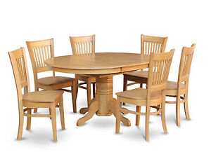 7 Pc Oval Dinette Kitchen Dining Room Set Table W 6 Wood Seat