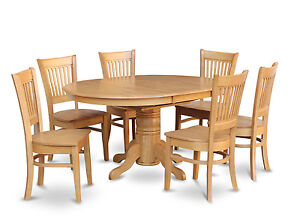Details about 7-PC OVAL DINETTE KITCHEN DINING ROOM SET TABLE w/ 6 WOOD  SEAT CHAIRS LIGHT OAK