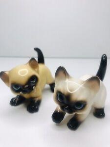 Vintage-Lot-2-JAPAN-Josef-Originals-SIAMESE-CAT-Blue-Eyes-Whiskers-Figure-FLAWED