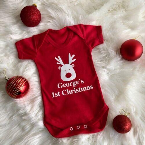 PERSONALISED 1ST CHRISTMAS ROMPER Red Newborn Gift White Glitter Rudolf Reindeer
