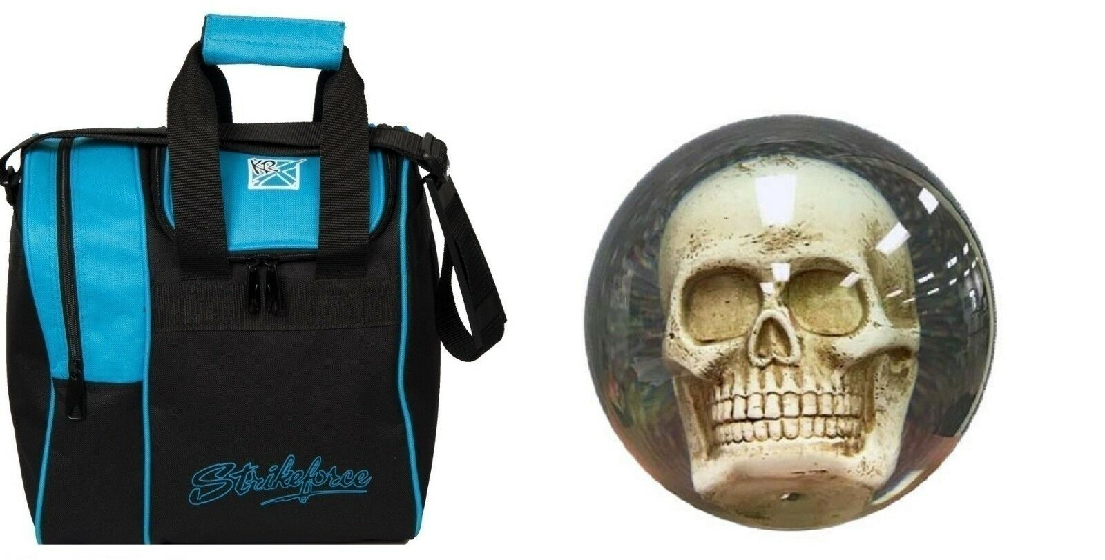 14lb KR Clear SKULL Polyester OTB Bowling Ball & Aqua bluee 1 Ball Bag