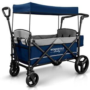Wonderfold-Wagon-X2-Push-Pull-2-Passenger-Folding-Stroller-Navy-NEW