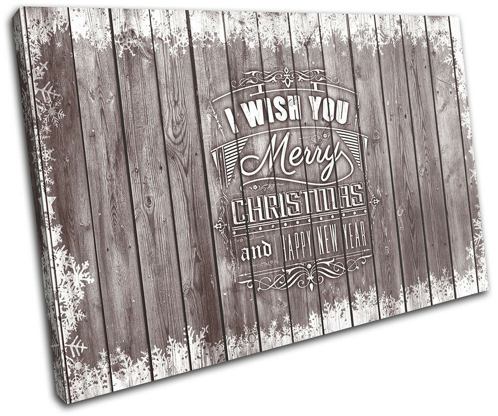 Christmas Decoration Wall Canvas ART Print XMAS Picture Gift Wood 20 marron Chris