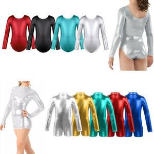 Girls-Ballet-Metallic-Long-Sleeve-Dance-Leotards-Gymnastics-Unitards-Dancewear