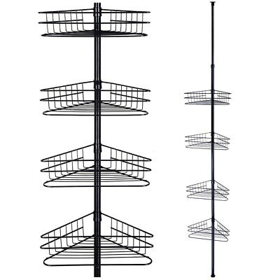 4 Tier Tension Metal Corner Pole Shower Caddy Shelf  Bathroom Storage Organizer