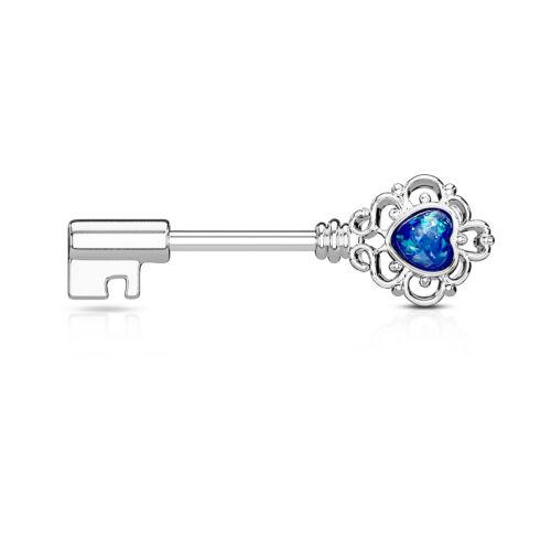 Opal Glitter Heart Filigree Key Nipple Ring Surgical Steel Barbell Shield