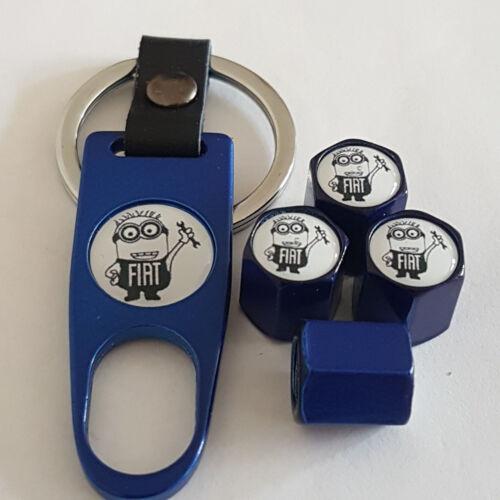 Fiat Minions BLUE DUST VALVE CAPS et clé Limited tous les modèles Boxed PUNTO 500