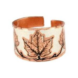 Solid-Copper-Ring-Maple-Leaf-Silver-Handmade-Jewelry-Gift-Adjustable-Size-Band
