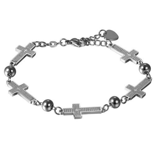 Femme Filles Acier Inoxydable Lord/'s Prayer Croix Charms Bracelet Lien Chaîne Cadeau