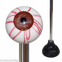 Custom Chrome Handle Plunger W/ Brown Eyeball Emblem Knob Top