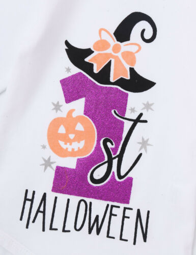 Baby Girl Halloween Romper Tutu Skirt Outfit Set Infant Pumpkin Jumpsuit Costume