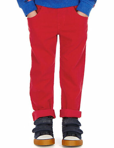 Boy/'s Cord Trousers Pull On Blue Red /& Green Cotton Casual Corduroy Pants