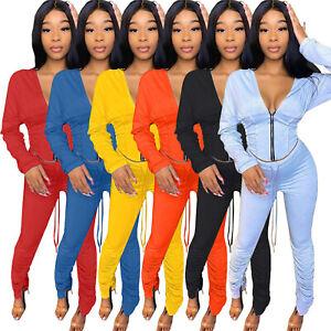 Women Hooded V Neck Long Sleeve Zipper Solid Color Draped Casual Pants Set 2pcs