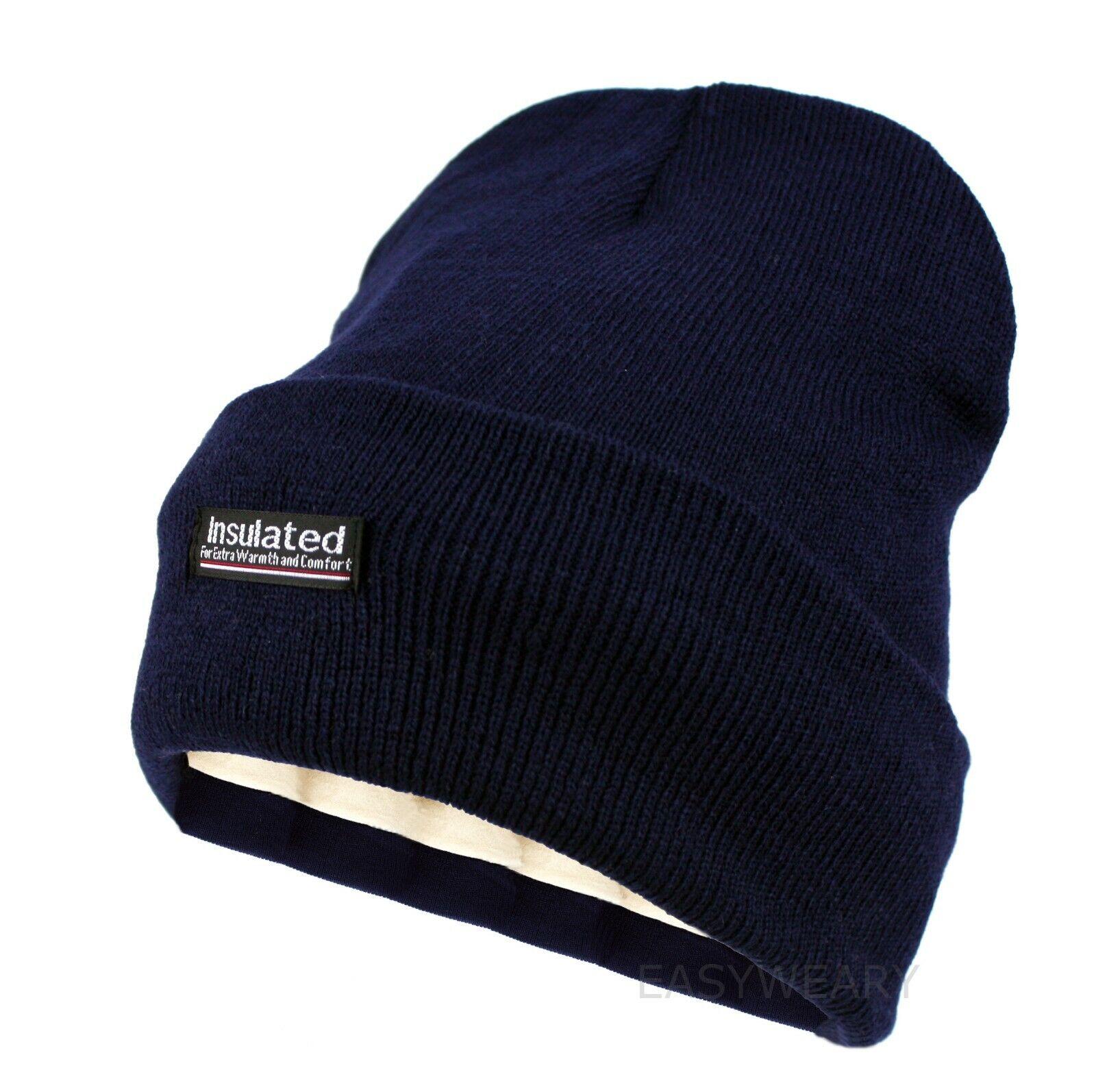 Men Knitted Visor Beanie Fleece Lined Cuff Winter Daily Newsboy Cap