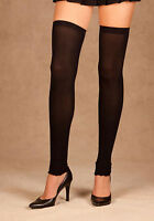 Elegant Moments 1879 Opaque Thigh High Leg Warmers (Black;One Size)