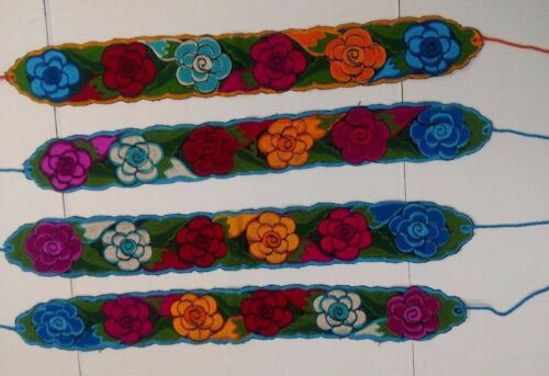 "Flower Belts Embroidered Colorful corset Adjustable with tie 4/"" width 38/"""