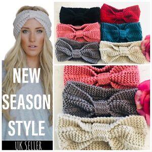 UK-Women-039-s-Turban-Knitted-Ear-Warmer-Knot-Headband-Crochet-Bow-Wool-Hat-Hairband