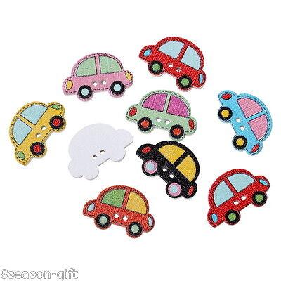 100PCs Wooden Buttons Cartoon Car Shape Mix Color 2-hole Sewing Scrapbook DIY