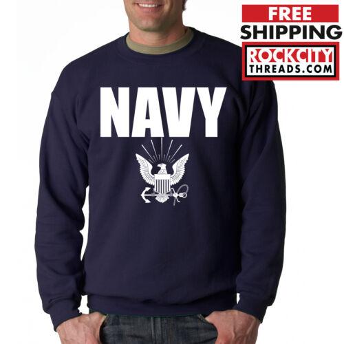 NAVY CREW NECK Military Hooded Sweatshirt Blend Seal US U.S.NAVY USNAVY USA