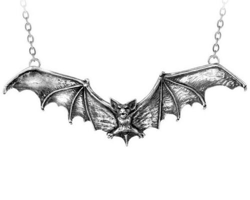 """Large Gothic Vampire Bat Necklace 5"""" Wide Pewter Pendant by Alchemy Gothic P121"""