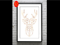 Geometric Stag Head Moose  Gold Foil Print Vintage Foil Rose Gold Wall Art