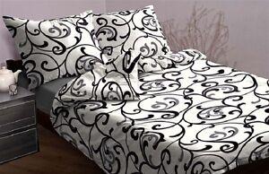 3-tlg-Mako-ropa-de-cama-satinada-Blanco-Negro-155-x-220-NUEVO-Diseno