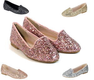 New youth Kid Girls Glitter Sequin Slip On Shoes Ballerina Party Flats 5 Colors