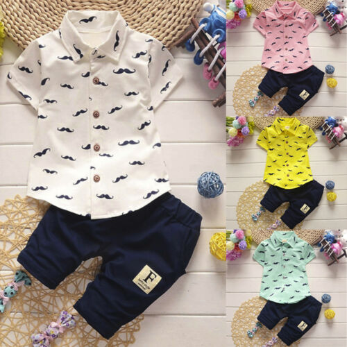 Toddler Baby Kid Boy Short Sleeve Shirt Tops+Pants Gentleman Outfits Clothes Vs