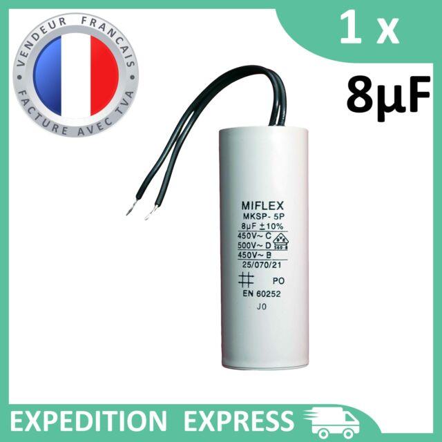 Condensateur moteur 8µF 8uF 450V à fils MKSP-5P démarrage/permanent