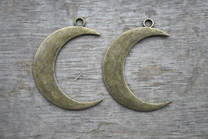 5pcs Moon charms bronze tone moon Pendants charms 44x32mm
