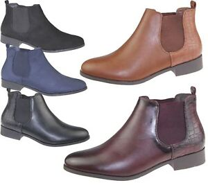 Womens-Ankle-Boots-Ladies-Chelsea-High-Top-Casual-Riding-Elasticated-Shoes-Size