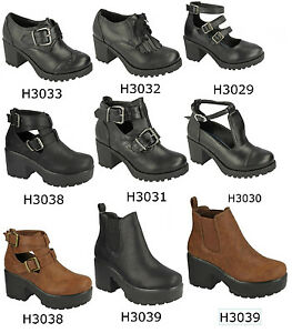 Clothes, Shoes & Accessories GIRLS CHILDRENS BLACK RED TAG CHUNKY BLOCK HEEL SHOES BOOTS WITH BUCKLES H3031