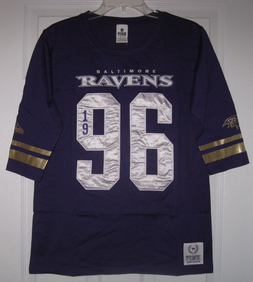 NWT VICTORIA'S SECRET Rosa NFL BALTIMORE RAVENS Gold XS JERSEY CREW T SHIRT TOP