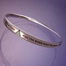 Irish Blessing Bracelet Bangle May the Road Rise to STERLING SILVER Irish Love