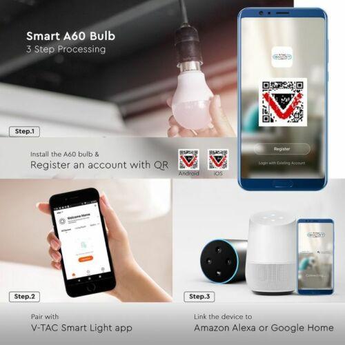 Works with Alexa /& Google,App control Smart LED Bulb Wi-Fi RGB Dimmable 10W B22