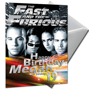 Image Is Loading FAST AND FURIOUS PERSONALISED Birthday Card Large A5