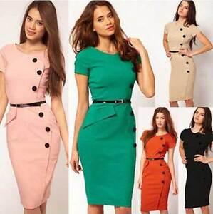 Women-Retro-Evening-Lady-Bodycon-Career-Business-Party-Work-pencil-Dress-Sheath